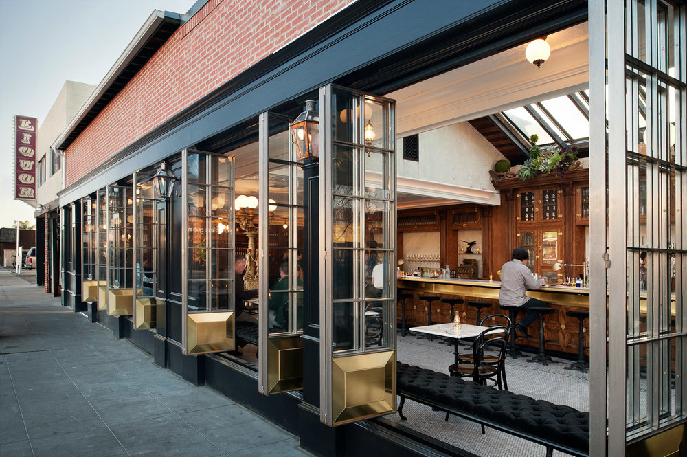Polite Provisions restaurant exterior, restaurant bar photography, designed by Basile, west coast architecture photographer