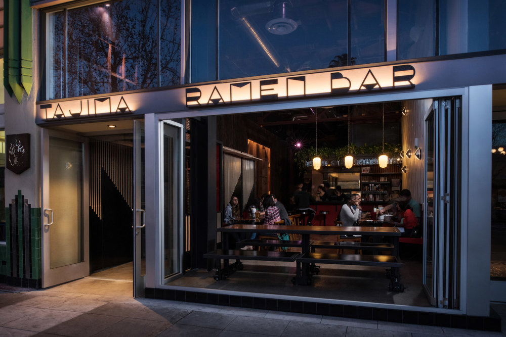 Tajima Ramen Bar exterior, san diego dining, accordion window detials, indoor outdoor dining, dining experience san diego