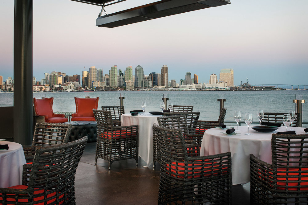 Patio of Coasterra overlooking San Diego skyline, architecture, restaurant architecture, Cohn restaurant