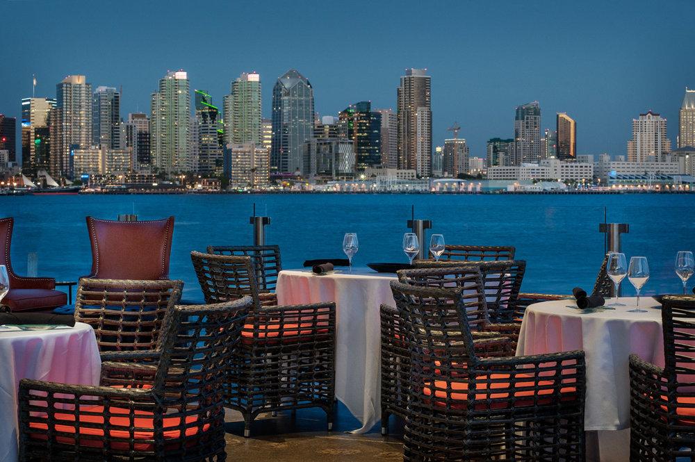 Sunset skyline of San Diego, Coasterra restaurant, bayfront restaurant