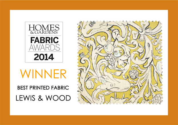 "In 2014 Bacchus won the Homes & Gardens Fabric Awards for BEST PRINTED FABRIC. The judges said of Bacchus:   ""Different to anything else, Lewis & Wood's fabric is interesting and beautiful with a stunning soft palette"""