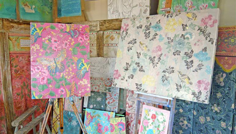 A few fresco secco panels at the studio