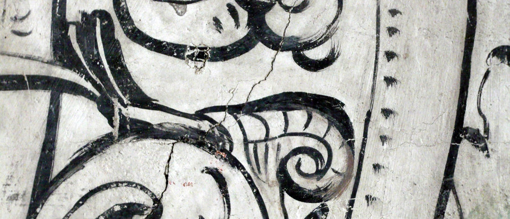 A detail from an Elizabethan wall painting in Sandwich, Kent