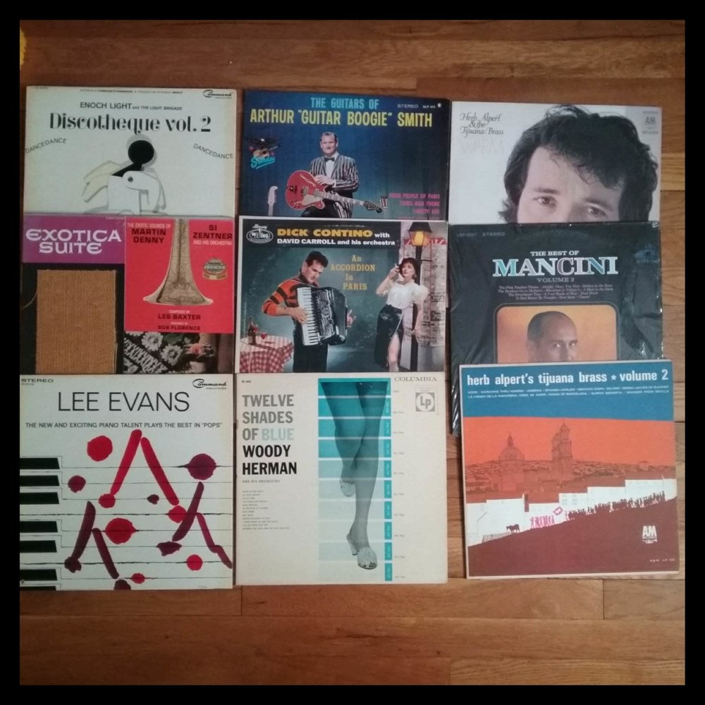 """Herb Alpert, Lee Evans, Arthur """"Guitar Boogie"""" Smith, Henry Mancini, Woody Herman, all great stuff to spin!"""