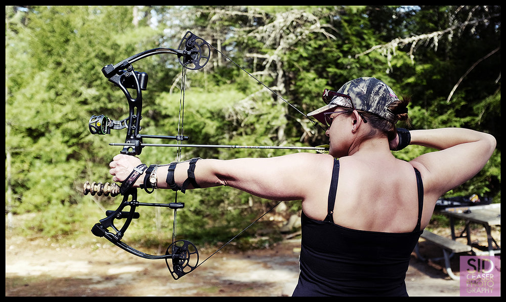 Leila Dressel of Nashua does some archery practice in Bear Brook State Park in Allenstown NH
