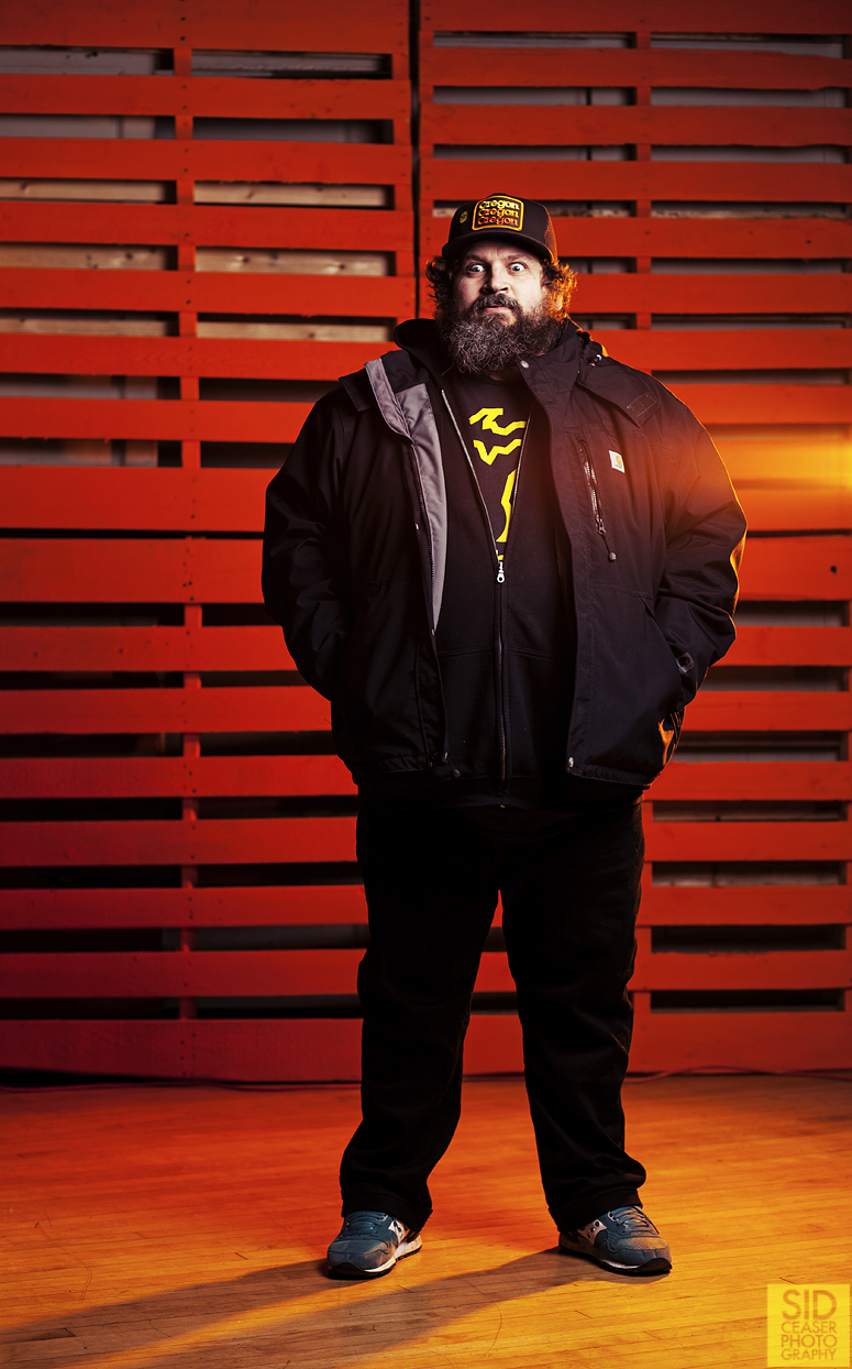 Aaron Draplin, having no knowledge of the existential crisis I was going through during pre-lighting and setup for this photograph.