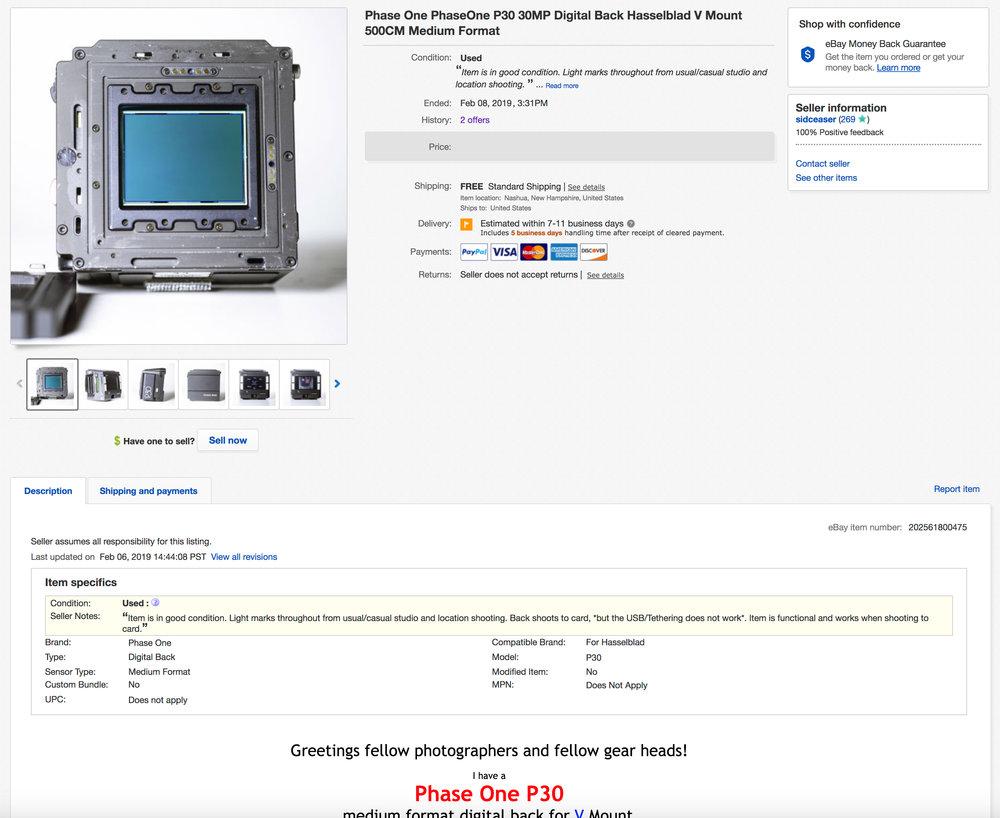 The Phase goes up on eBay