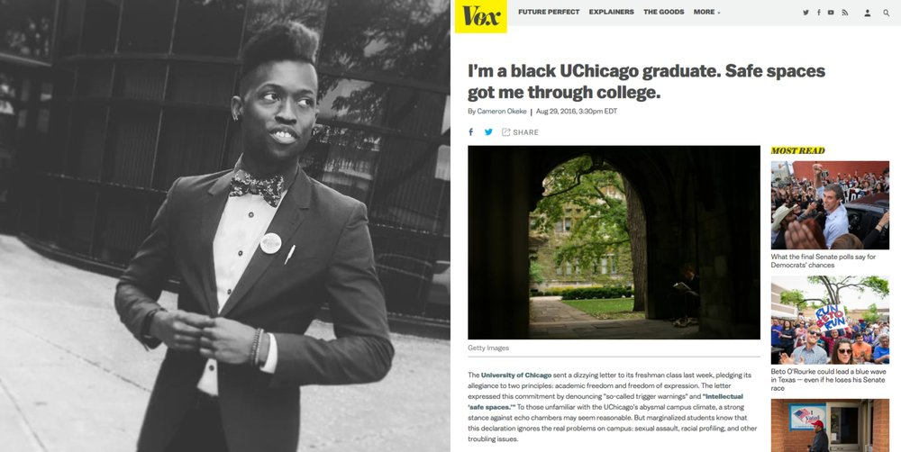 """FREE SPEECH 32: """"Safe Spaces Got Me Through College"""" How Universities Can Guarantee Free Speech While Being Inclusive, with Cameron Okeke - With Cameron OkekeREAD MORE"""