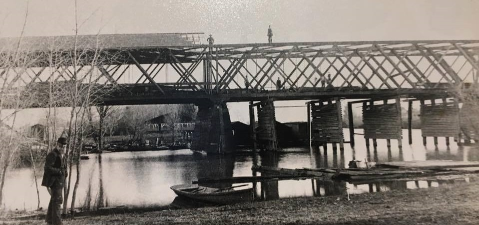 This photo, according to the Community Memorial Museum of Sutter County, is a bridge constructed in 1861 across the Feather River. Sutter County built a bridge across the Feather River in 1861 that withstood the great flood of 1861-62 and stood for several decades. Sutter County's estimated cost was $37,000 in 1861 and charged a toll fee until 1871 when the bridge costs were covered by the toll charges.