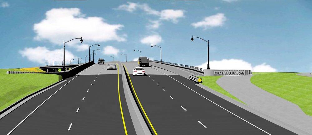 Artist rendering of the Bridge Street on-ramp going east on the 5th Street Bridge.