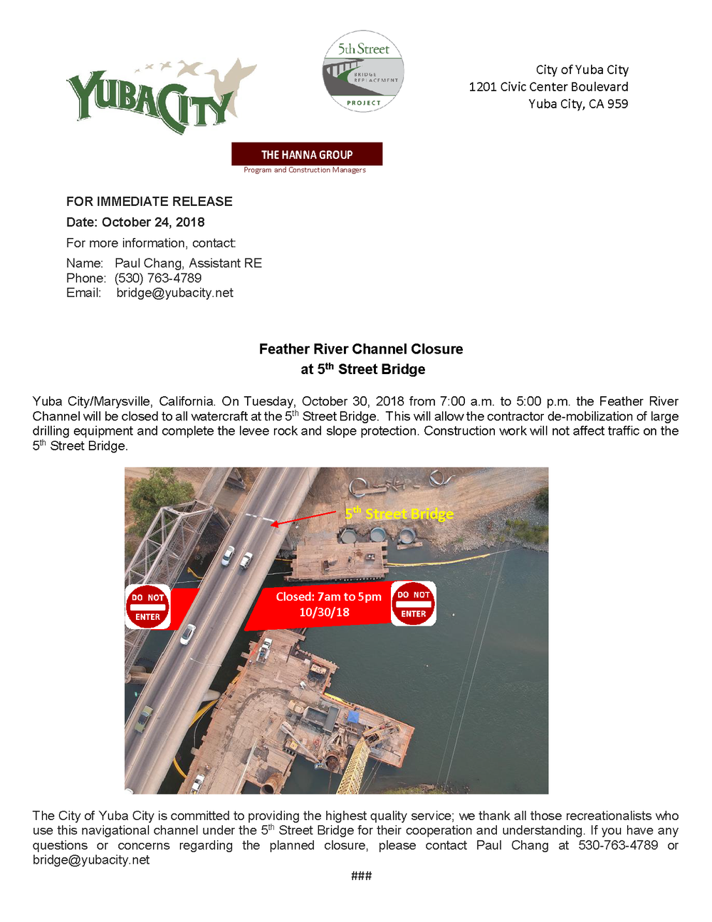 Press Release - Feather River Channel Closure to watercraft at 5th Street Bridge.png