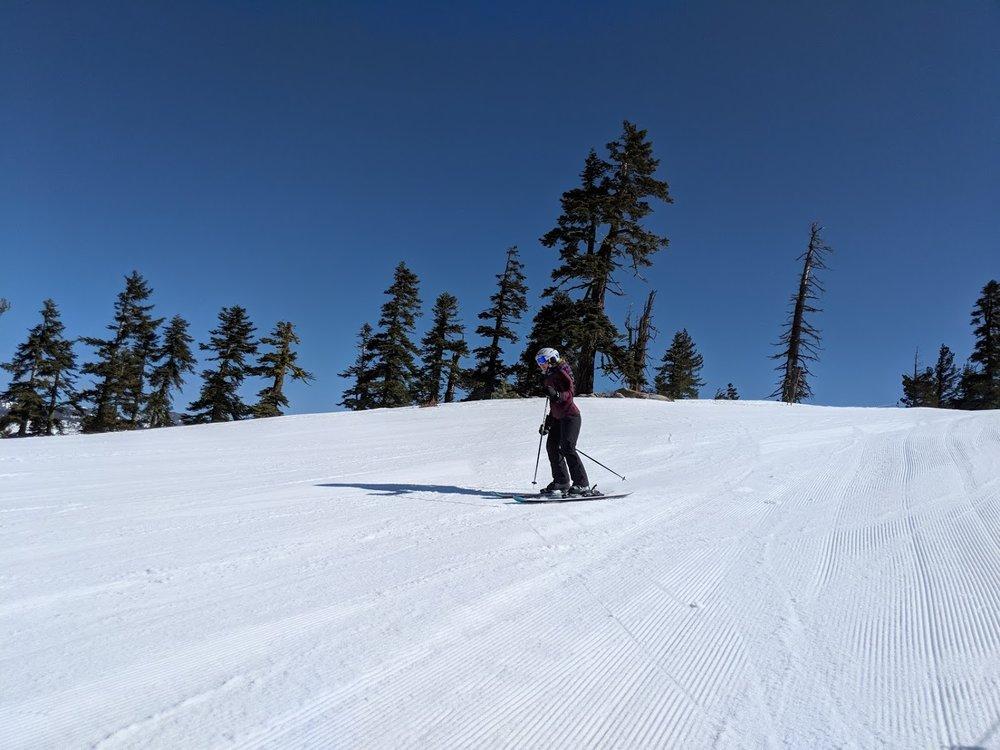Skiing at Diamond Peak, early spring 2018