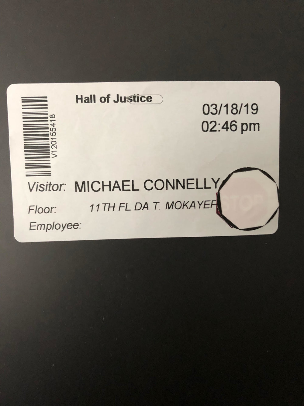 Michael Connelly Visitor Pass at the Hall of Justice