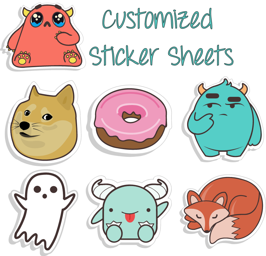 Custom Sticker Sheets - We're thrilled to be able to bring to life your own imaginative creations!