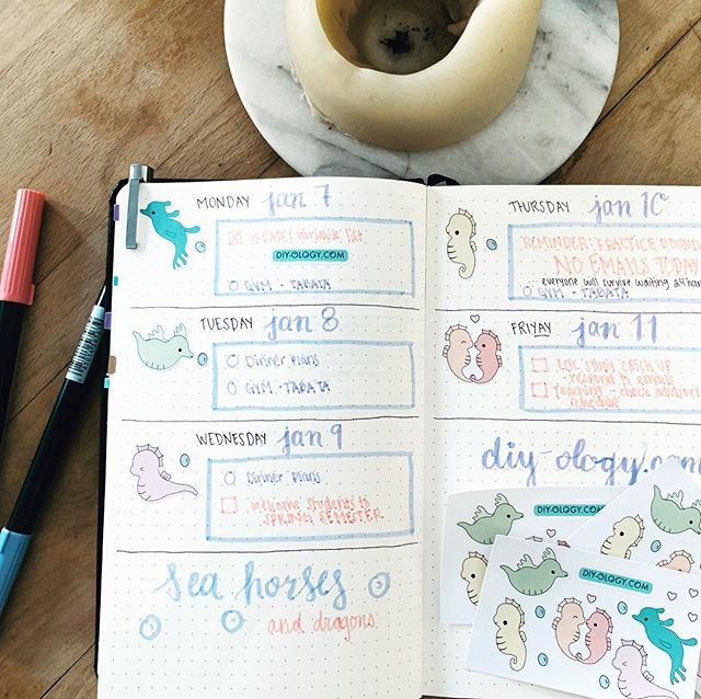 You can see how I'm dependent on #stickers for my #weeklyspread ... Somehow can draw hyper realistic portraits but oh help my line skills! Spent some time making #doodle of #seahorse and #seadragon because why not. These also made some great #svg / #cuttingfiles for #vinyl and #decals. Also got new #tombow and #micron pens. Follow to be the first to find out when diy-ology.com launches. We plan on having high resolution files ready for download of these images. #freebies , #craft , #planneraddict #plannerstickers  #plannercommunity #diy #bulletjournal #bujo #cricut