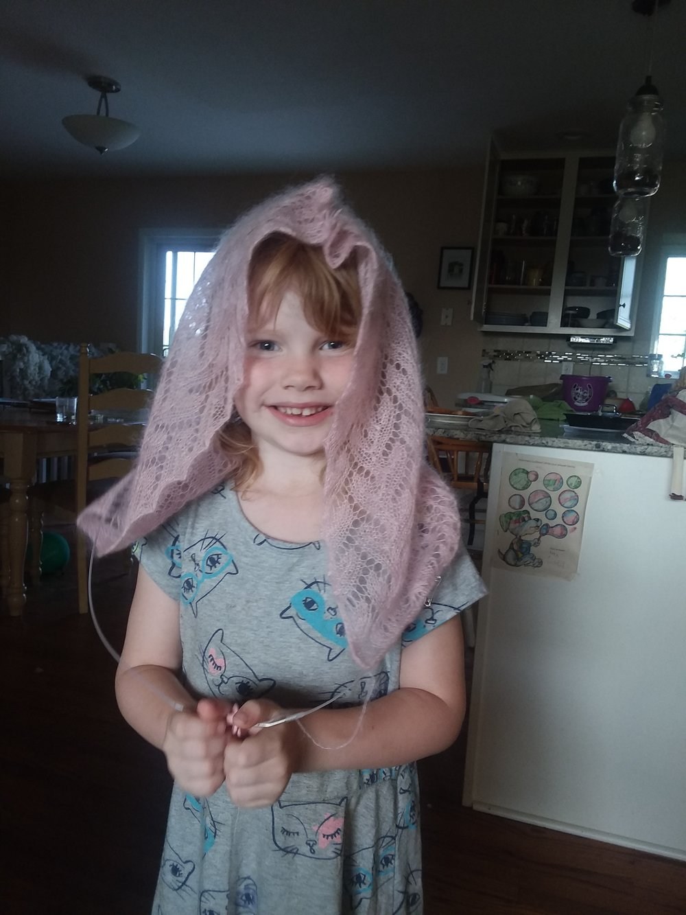 She modeled my hood after it was blocked and the top was sewn up. You can see it's on the needles still.