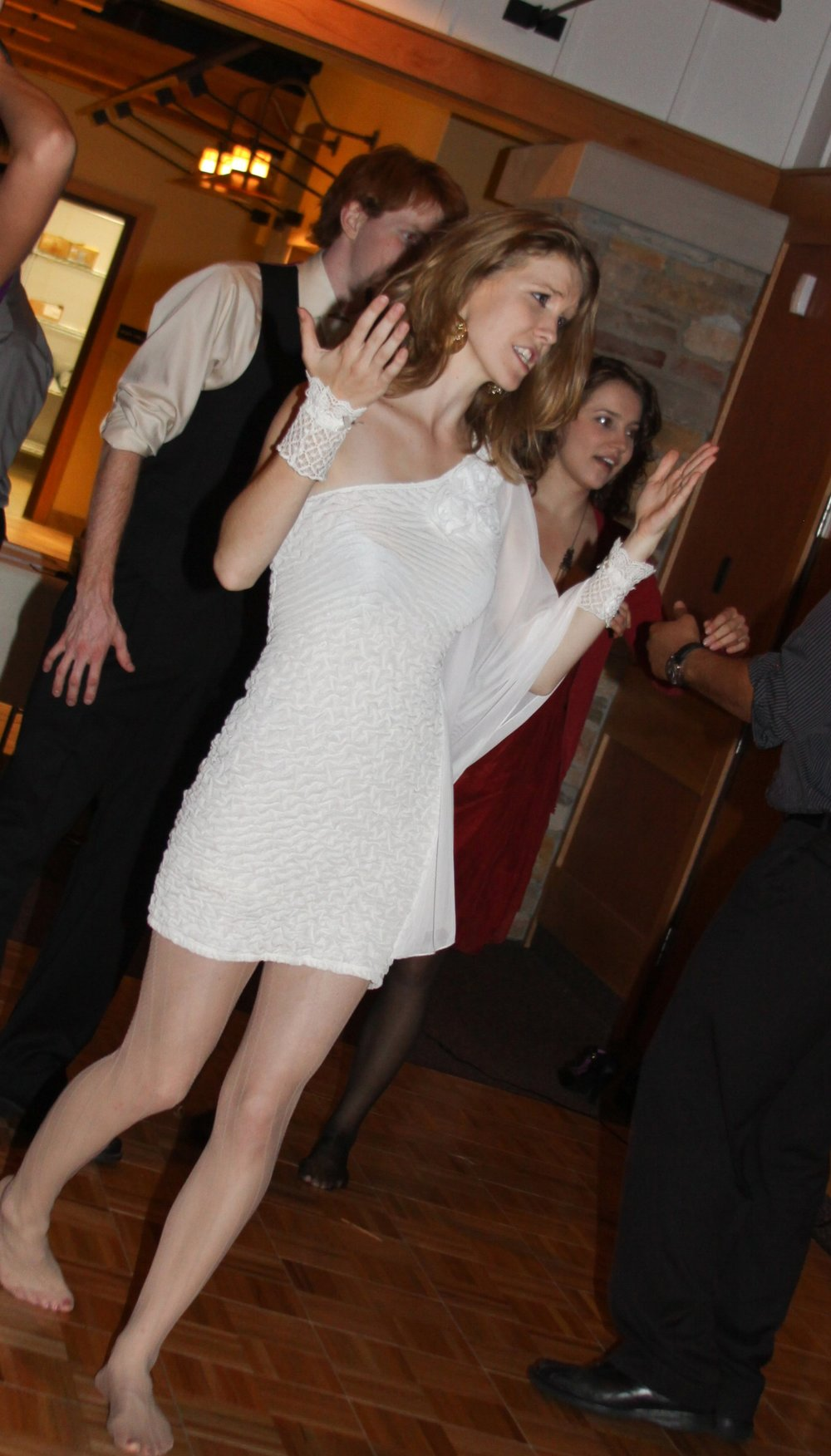 """Classy much? Here's my """"reception dress"""" that I bought at Deb's for $15. (remember, I was still a fast fashion junkie at this point) Also wearing lace wristlets from Claire's. Yup. Great comfort for dancing. But what to do with it now?"""