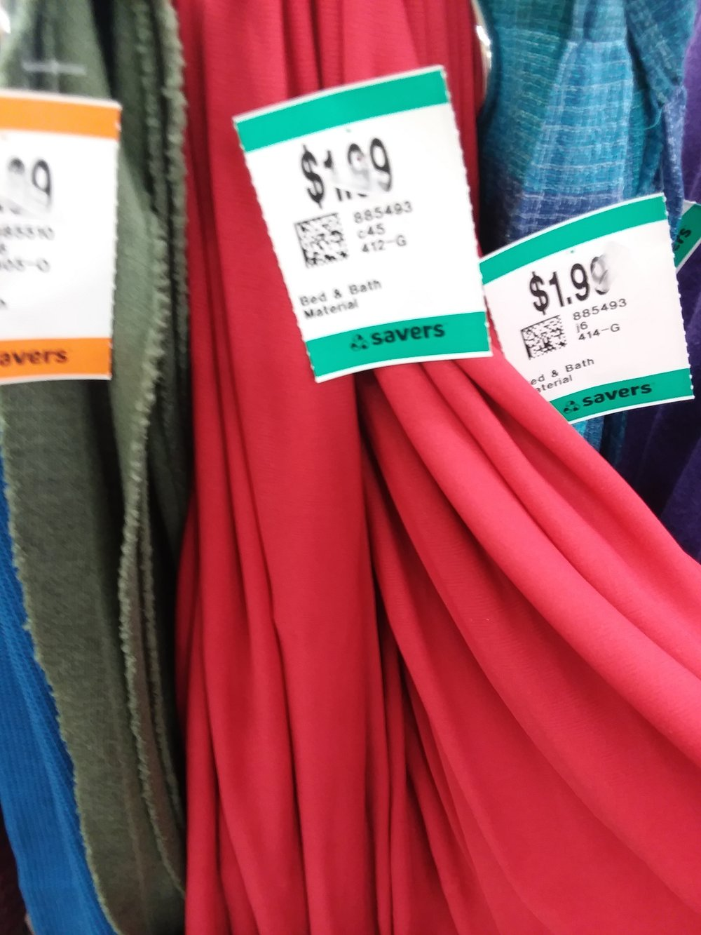 See those prices? That's several yards of lovely fabric for $2-5. People, thrift stores are your friend. Do you have fabric you don't want? If you can't swap to someone, bring it to a thrift store so I can buy it.