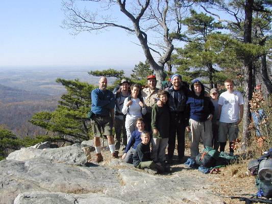 Raven's Rock, Appalachian Trail, Virginia – November, 2001. We hiked 2000 feet uphill that day on a series of hills with full packs. (That's 200 flights of stairs!)