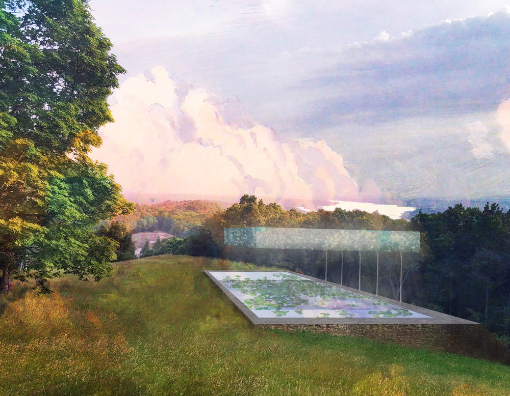 A conceptual design for a folly at Olana, Frederic Edwin Church's home in upstate New York. The design reflects the sublime sky of the Hudson River Valley, a source of much inspiration for Frederic Church. Designed in collaboration with Margie Ruddick.