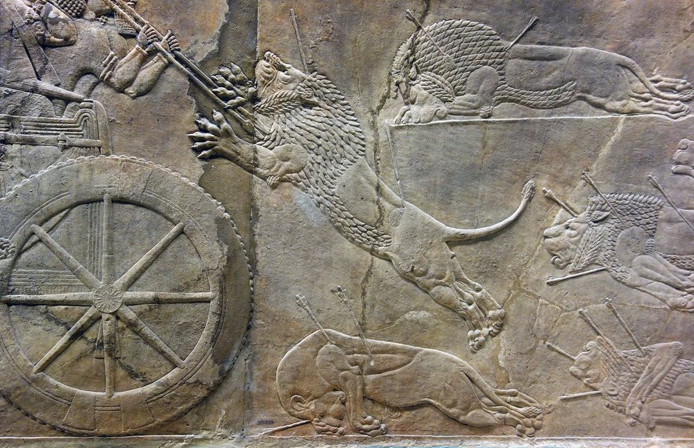 A hunting scene from ancient Assyria.