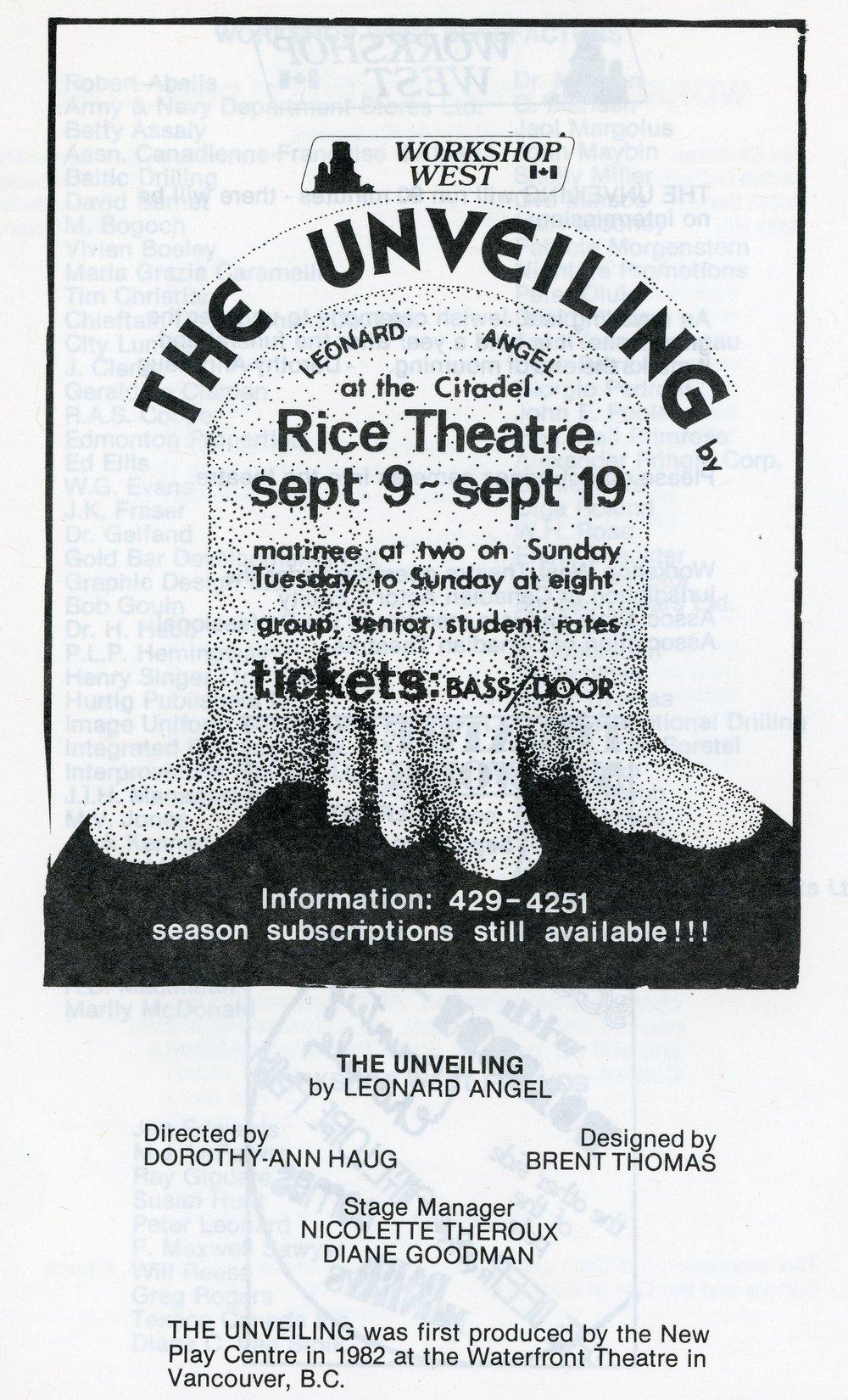 The Unveiling (September, 1982) - Program Cover.jpg