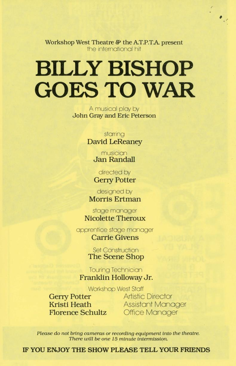 Billy Bishop Goes to War (1) (November, 1983) - Program Information-page-001.jpg