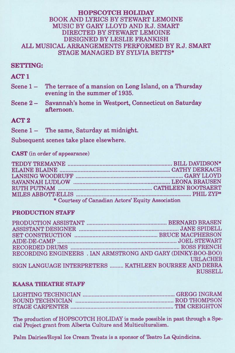 Hopscotch Holiday (April, 1988) - Production Information-page-001.jpg