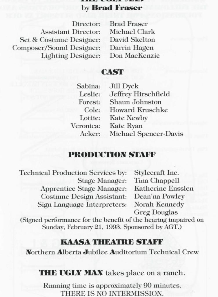 The Ugly Man (Febuary, 1993)-Production Information-page-001.jpg