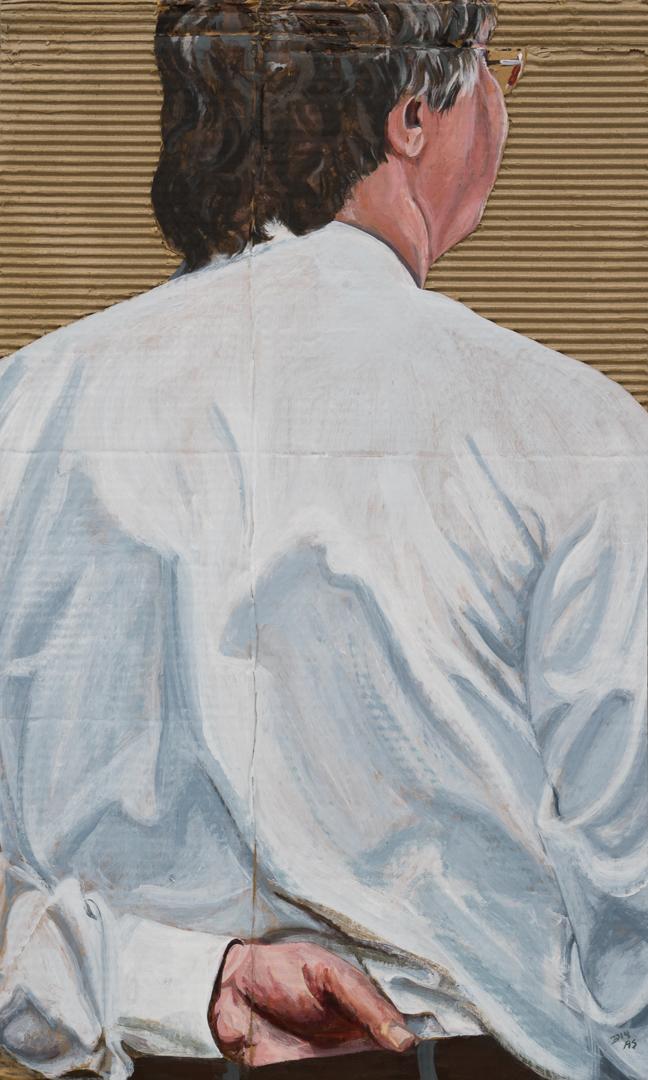 "' SOHO XIII ', 2015.' 27x16"" Acrylic on cardboard. © Ann Strassman"