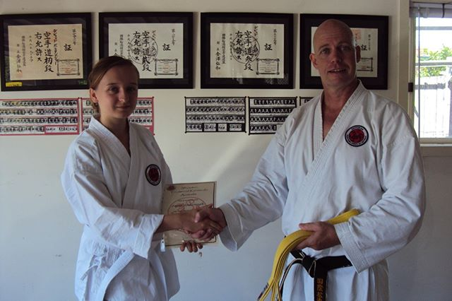 Ana grading to eighth kyu (yellow belt) at Gold Coast Dojo in 2012⠀⠀⠀⠀⠀⠀⠀⠀⠀ ⠀⠀⠀⠀⠀⠀⠀⠀⠀ #karatelife #karatelifestyle #karatetraining #karategrading #shotokan #shotokankarate #shotokankaratedo #traditionalkarate #karate #karatedo #karateka
