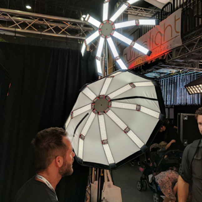"""- The whole unit can be used """"naked"""" (that's the light not you, but I didn't say you couldn't be) or can be fitted with a fabric reflector to make this the first parabolic led fixture that I am aware of. A snap grid is also provided before you ask."""