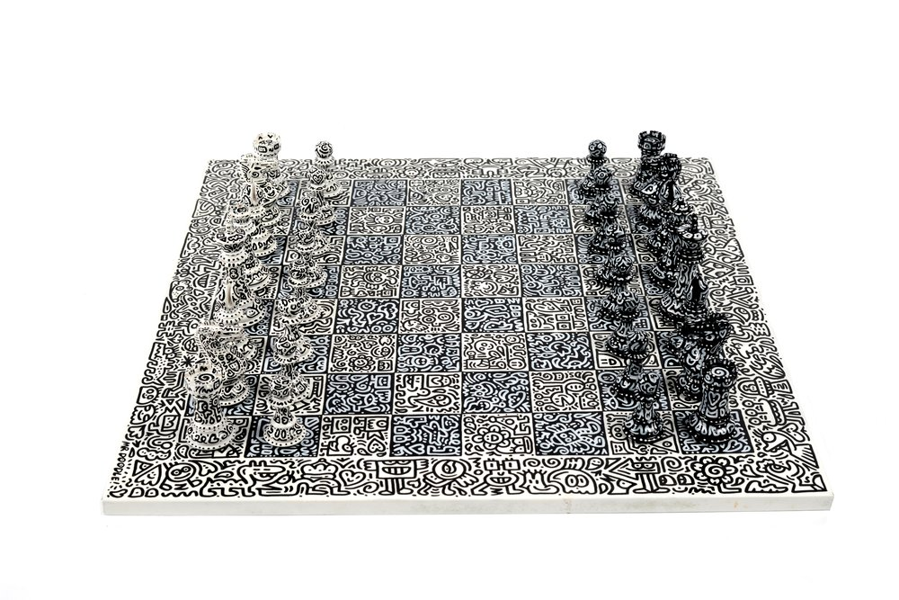 "MR DOODLE: ""Graffiti Spaghetti Chess Set"""