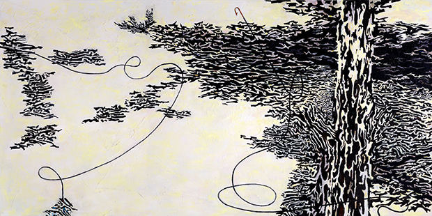 Downstream With Fish, Eye, Hook, Tree And Birds  2004-7, 183 x 366 cm