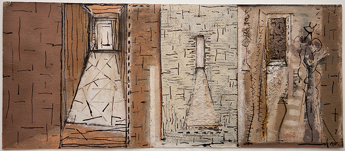 Interior Triptych With Figure  1995, 23 x 54 cm