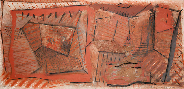 Red Interior With Infanta And King And Queen  1983-5, 51 x 102 cm