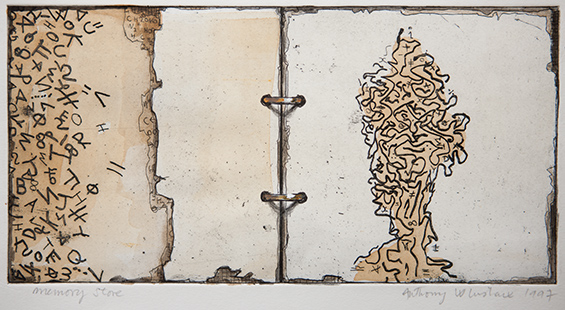 Memory Store  1997, 14.5 x 29 cm, hand tinted etching