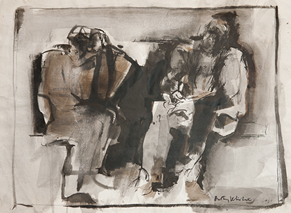 Two Early Seated Figures  1961, 43 x 59 cm