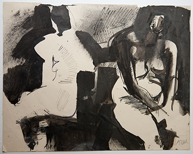 Seated Woman And Reflection  1959, 20 x 25.5 cm