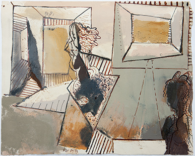 Studio With Doubled Head  1989-93, 27 x 34 cm