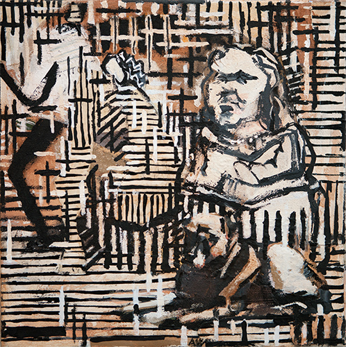 Maria Barbola And Dog  1984-5, 41 x 41 cm