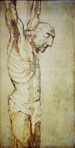 The Crucifixion  1956, 244 x 122 cms, oil on board (Christ Church, Kensington)