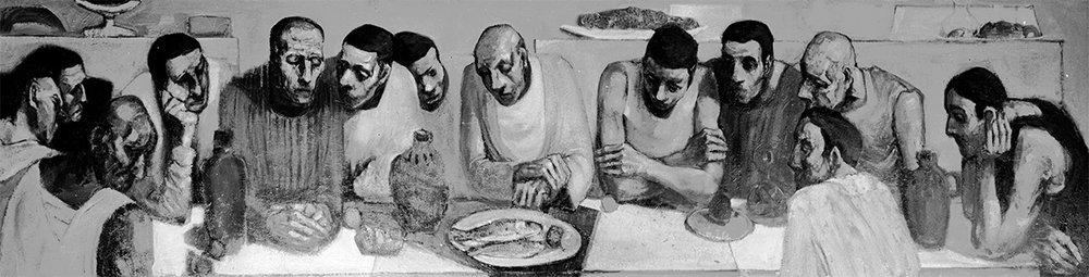 Last Supper  1959, 122 x 488 cm, oil on board (Christ Church, Kensington)