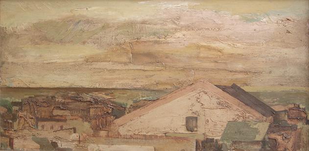 Rooftops, Puerto De Santa Maria  1962, 30.5 x 60.5 cms, oil on board