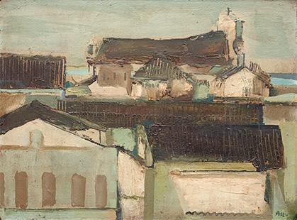 Rooftops, Puerto De Santa Maria II  1966, 34 x 45 cm, oil on board