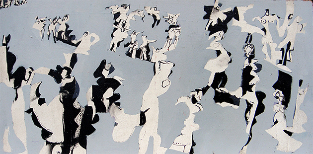 Grey Dance  1963-4, 31 x 61 cm, oil on board
