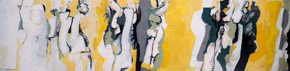 Yellow Dancers  1965 12 x 50 cm, oil on board