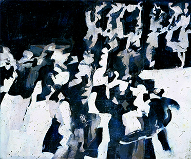 Grey Dancers  1963-4, 30 x 61 cm, oil on board