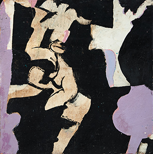 Small Purple Dance  1963-6, 20 x 20 cm, oil on board