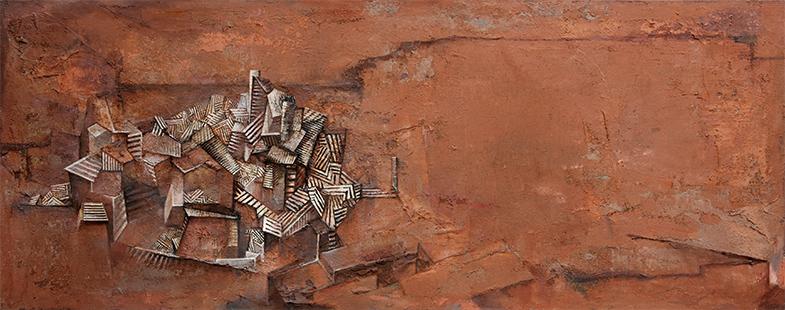 Towards Zamora II  1989-2014, 122 x 305 cm